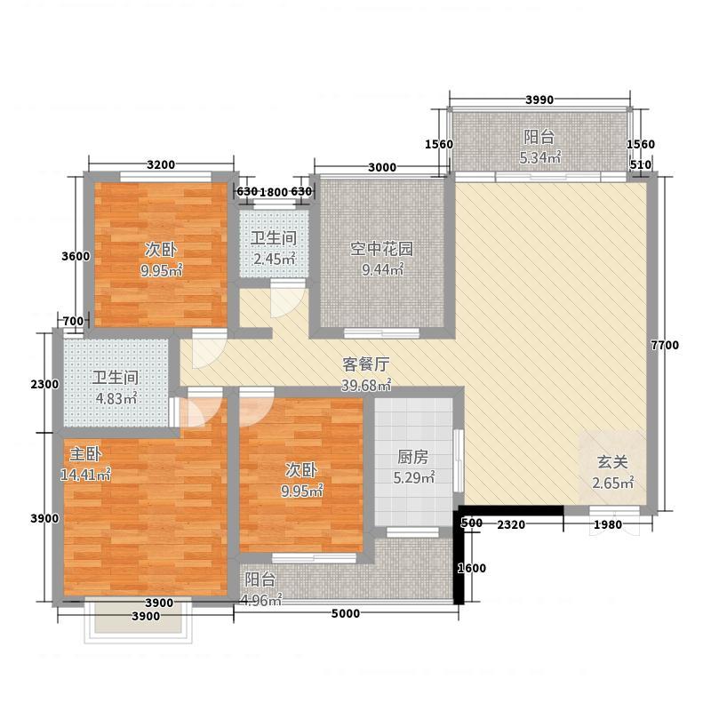 双安・金水湾127.80㎡003户型3室2厅2卫1厨