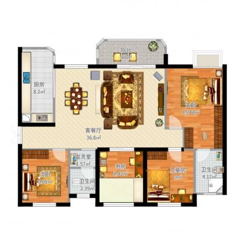 润和之悦4室2厅2卫1厨141.00㎡户型图