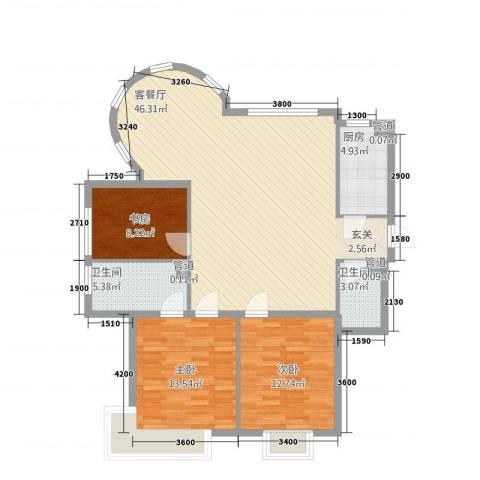 山水太阳城3室1厅2卫1厨131.00㎡户型图