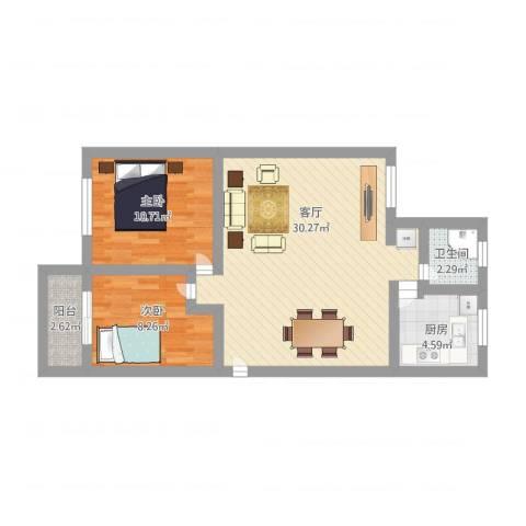 岭兜小区2室1厅1卫1厨88.00㎡户型图