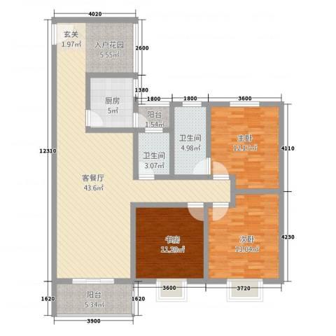 神州时代名城3室1厅2卫1厨145.00㎡户型图