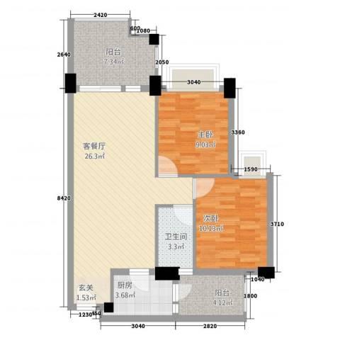 城市风景2室1厅1卫1厨91.00㎡户型图