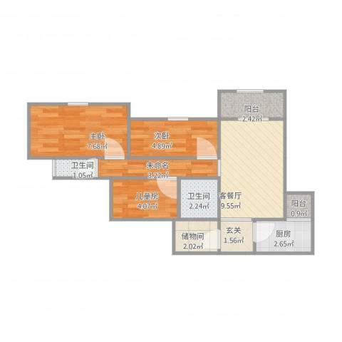 紫薇天悦13052室1厅2卫1厨60.00㎡户型图