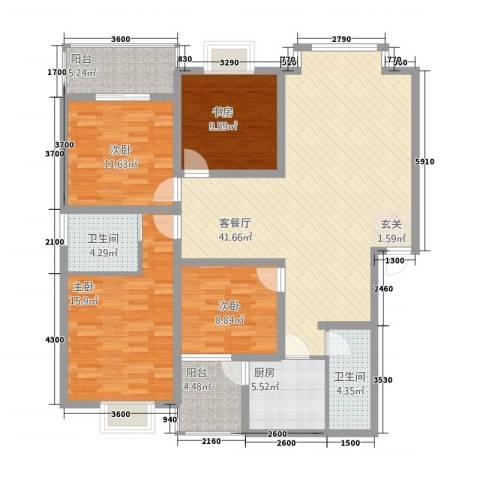 城南春天4室1厅2卫1厨159.00㎡户型图