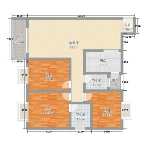 神州时代名城3室1厅2卫1厨98.85㎡户型图