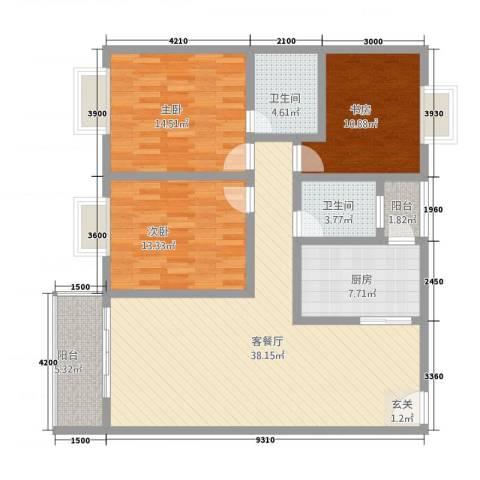 神州时代名城3室1厅2卫1厨119.00㎡户型图