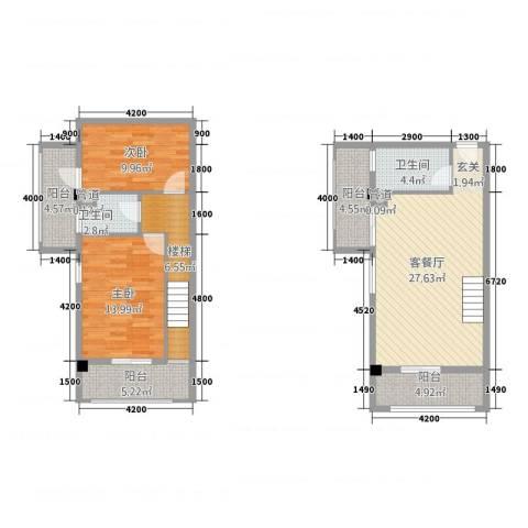 古越扬帆・城市广场2室1厅2卫0厨84.80㎡户型图