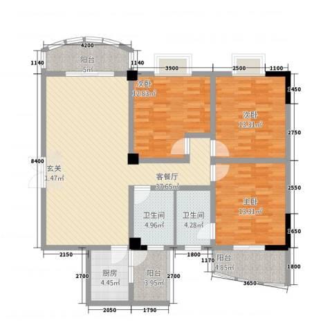 奥克斯中央大厦3室1厅2卫1厨151.00㎡户型图