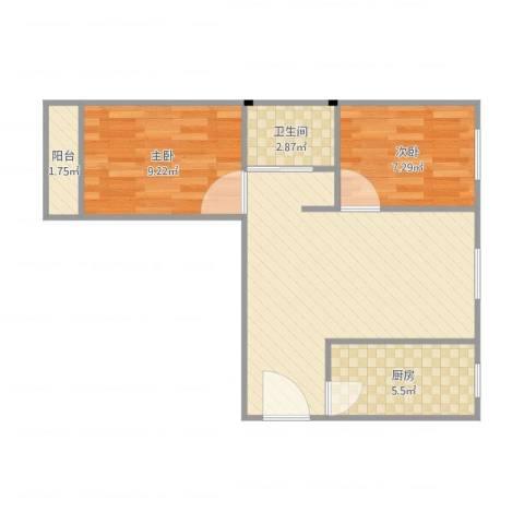 康泽佳苑2室1厅1卫1厨64.00㎡户型图