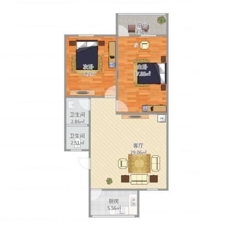 新馨家园2室1厅2卫1厨102.00㎡户型图