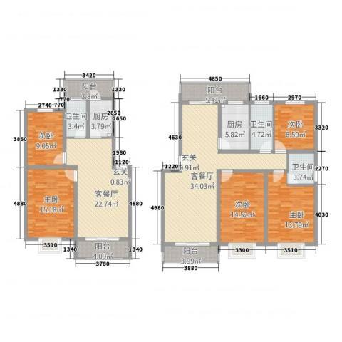 天都华庭5室2厅3卫2厨225.00㎡户型图