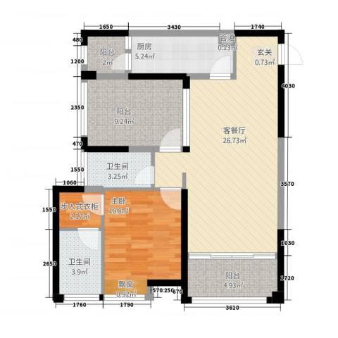 华嬉盛世1室1厅2卫1厨100.00㎡户型图