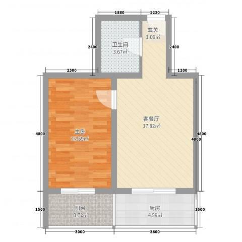 江南印象1室1厅1卫1厨61.00㎡户型图