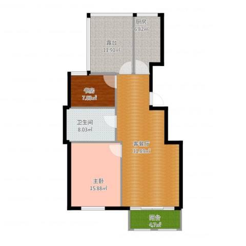 首开香溪郡2室1厅1卫1厨119.00㎡户型图