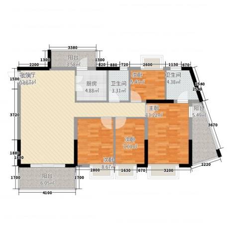 金田花园花域4室1厅2卫1厨134.00㎡户型图