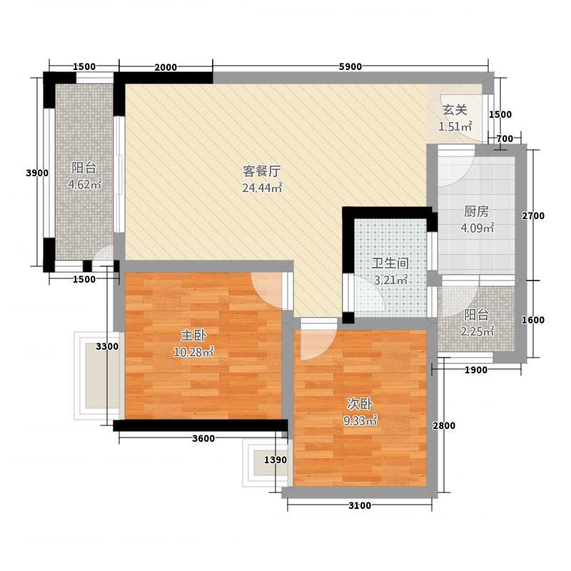 桂博豪庭6.00㎡户型2室1厅1卫1厨