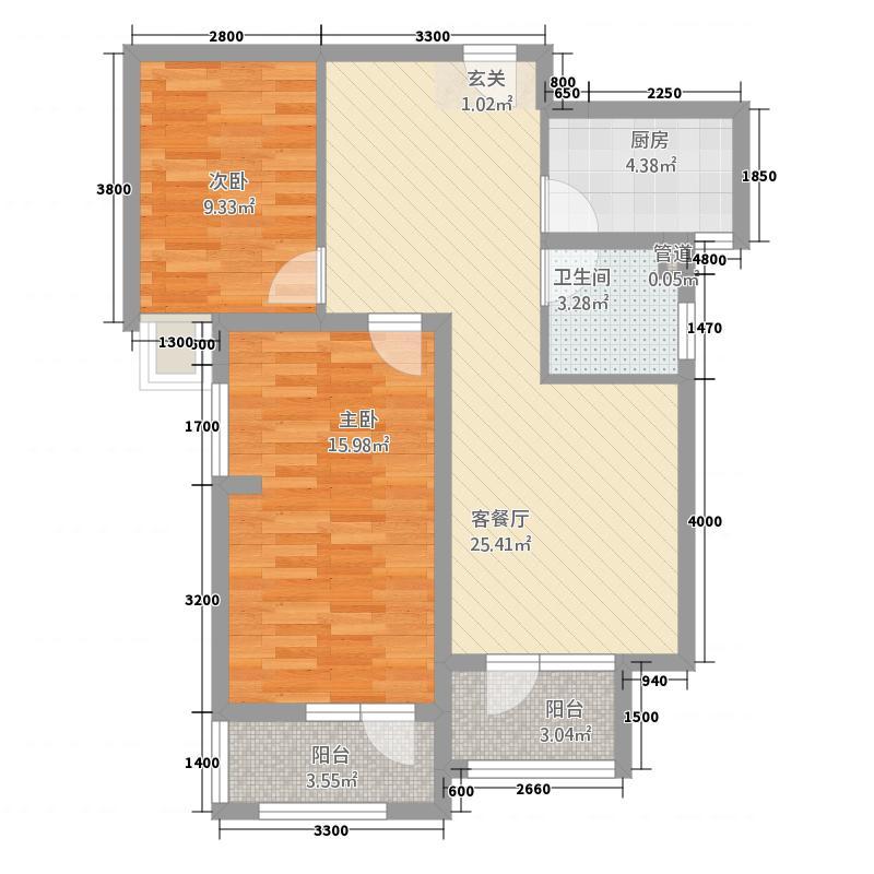 金地自在城88.00㎡K2地块8、9号楼3A-3户型2室2厅1卫1厨