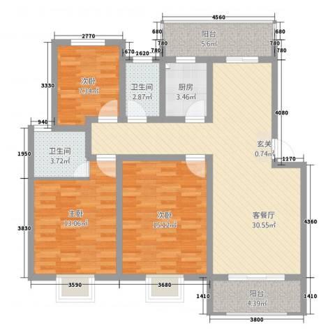 天都华庭3室1厅2卫1厨125.00㎡户型图