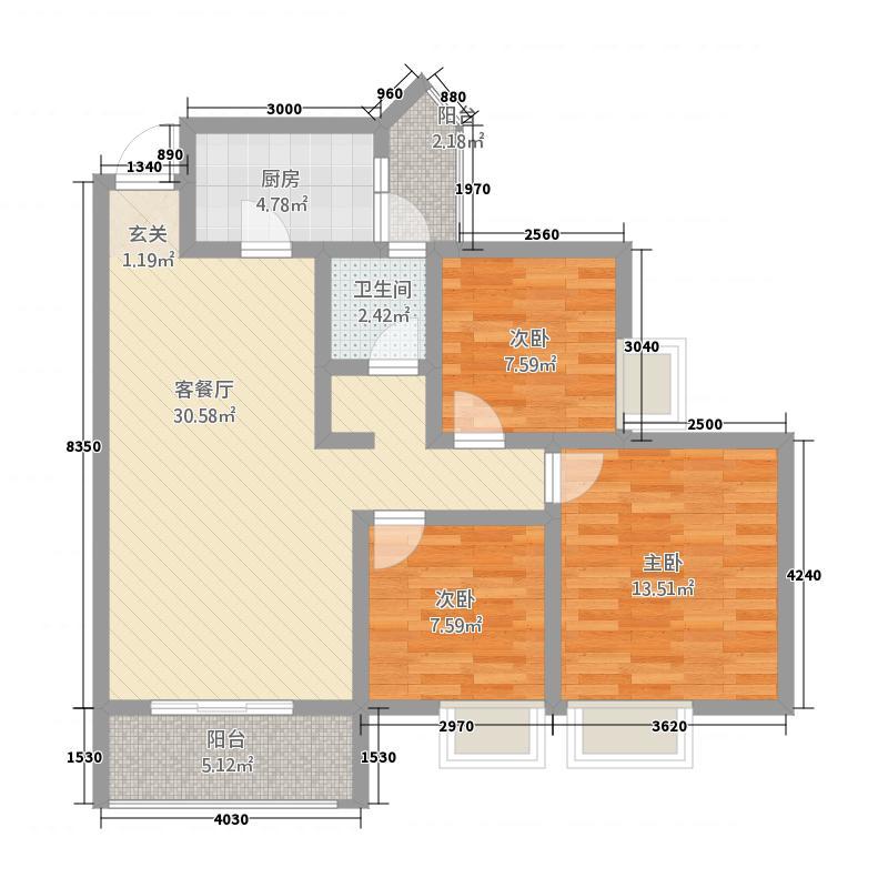 金树湾6.75㎡G2户型3室2厅2卫1厨
