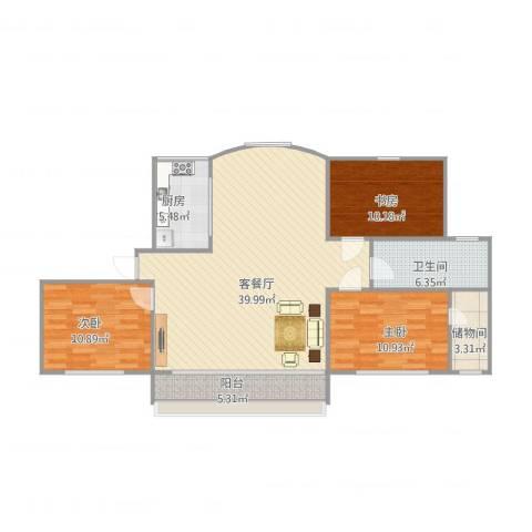 弘基书香园二期顶楼3室1厅1卫1厨124.00㎡户型图