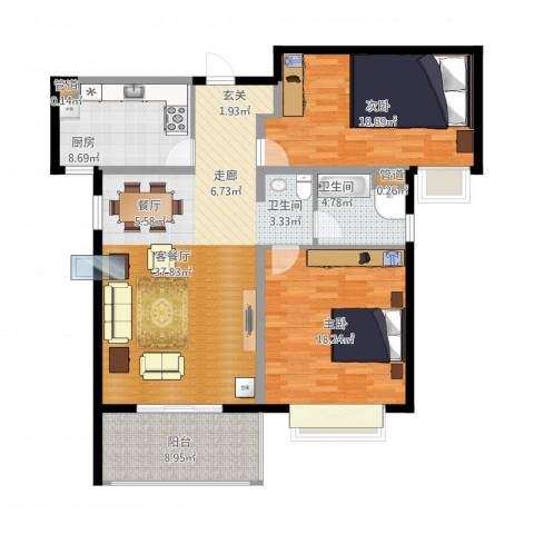 金色里程2室1厅1卫1厨136.00㎡户型图
