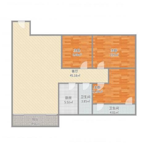 华苑大厦3室1厅2卫1厨131.00㎡户型图