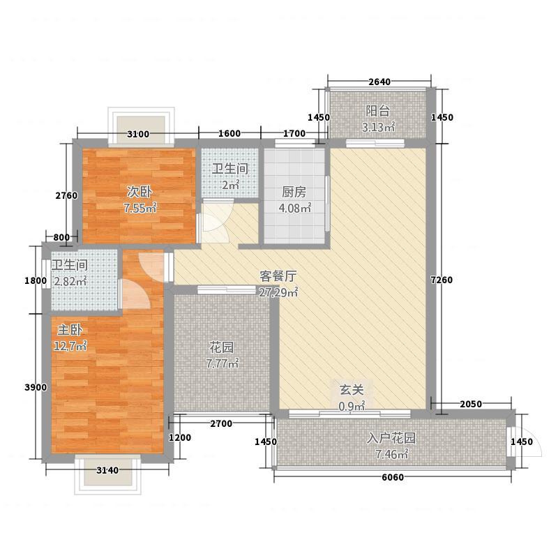 中南・锦绣花园85.36㎡K户型2室2厅2卫1厨