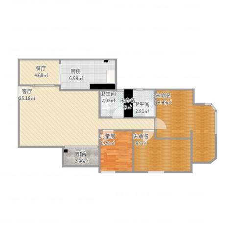 金道花园1室2厅2卫1厨106.00㎡户型图