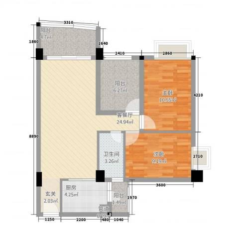 云峰花园四期2室1厅1卫1厨94.00㎡户型图