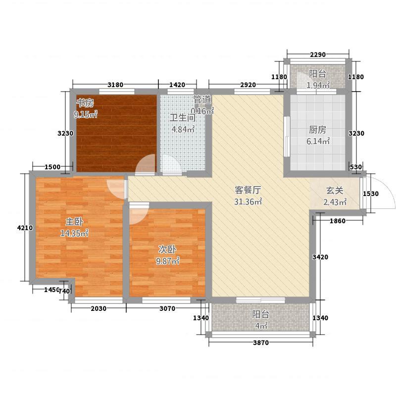 中林佳湖新城118.00㎡户型3室