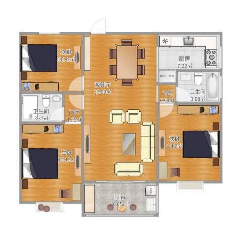书香苑3室1厅2卫1厨127.00㎡户型图