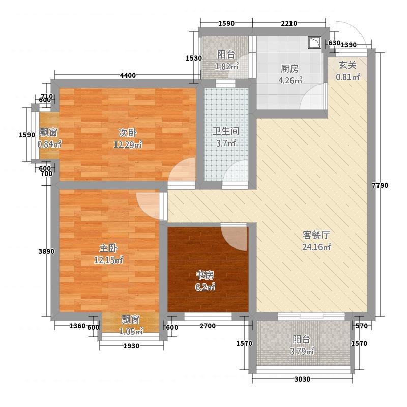 惠盛花园二期8.83㎡B3户型3室2厅2卫
