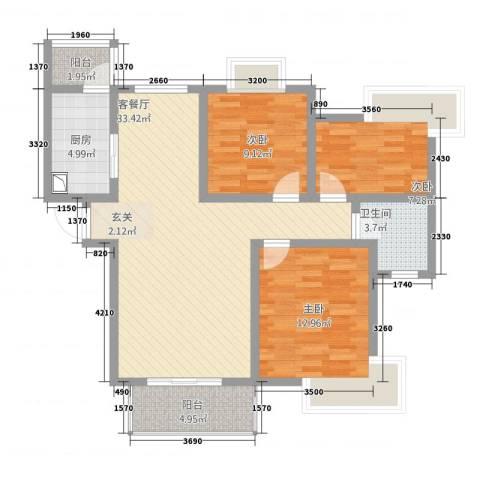 湖畔天城3室1厅1卫1厨114.00㎡户型图