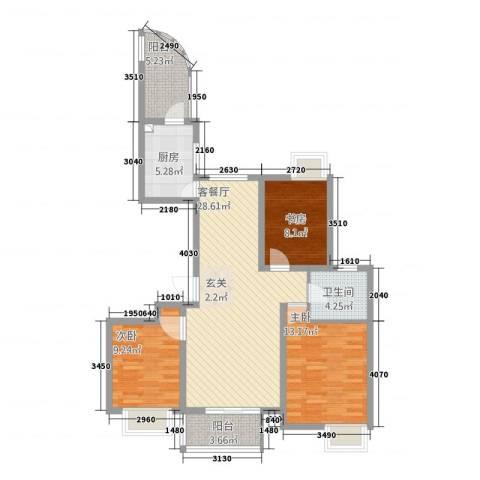 湖畔天城3室1厅1卫1厨112.00㎡户型图