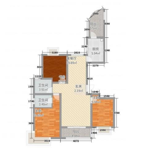 湖畔天城3室1厅2卫1厨125.00㎡户型图