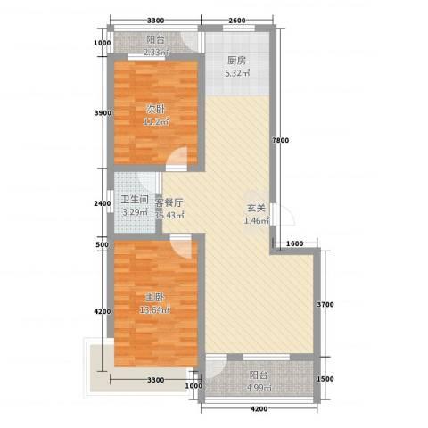 茗瑞华府2室1厅1卫0厨102.00㎡户型图