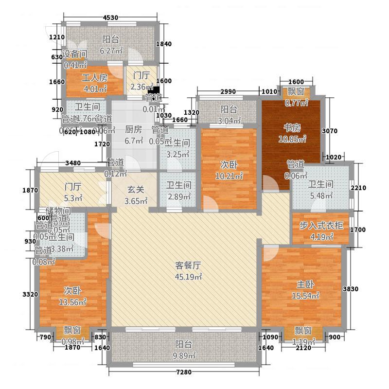 宁兴城市广场228.00㎡G1户型5室4厅4卫1厨