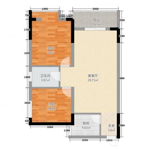 香泉公馆2室1厅1卫1厨65.97㎡户型图