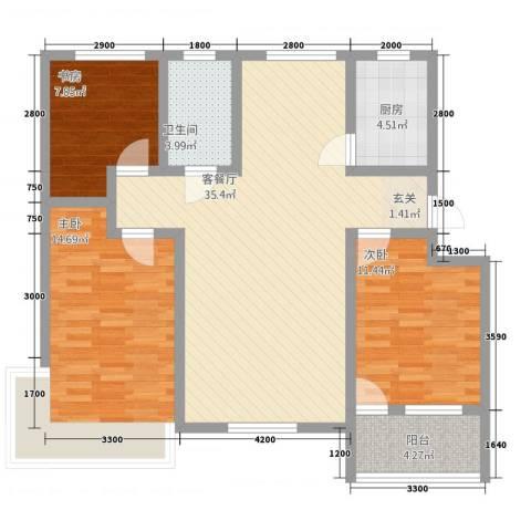 茗瑞华府3室1厅1卫1厨118.00㎡户型图