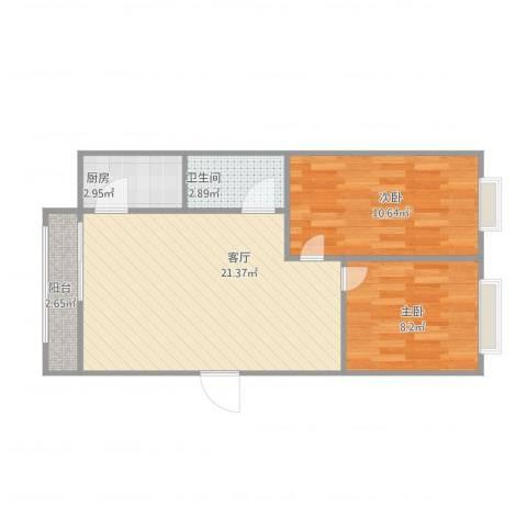 绿景嘉园2室1厅1卫1厨66.00㎡户型图