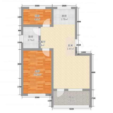 茗瑞华府2室1厅0卫1厨81.00㎡户型图
