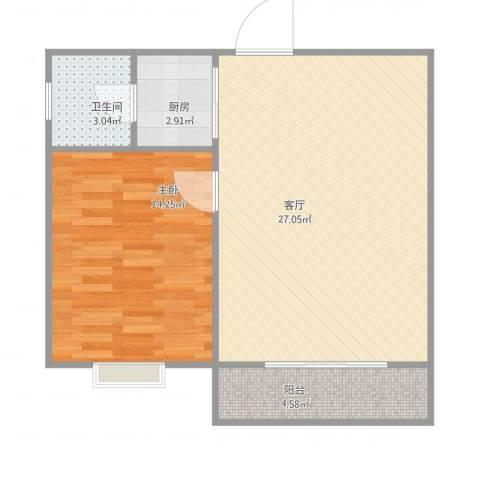 逸港花园1室1厅1卫1厨69.00㎡户型图
