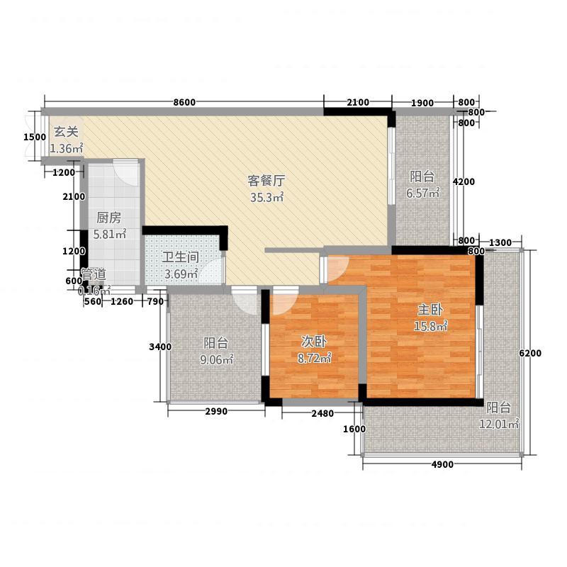 兴隆誉峰13.30㎡三组团雅境园7号楼C6户型2室2厅1卫1厨