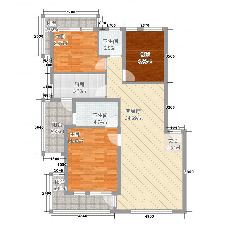实力上筑17.21㎡C4户型3室2厅2卫1厨