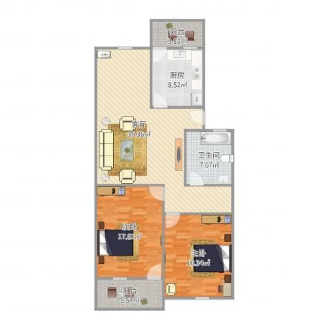 屿后南里116栋02户型2室1厅1卫1厨126.00㎡户型图