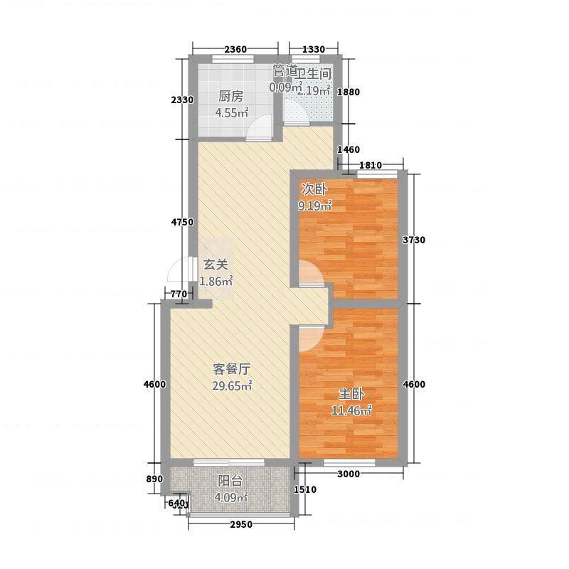 筑诚・12英里北区88.00㎡户型2室2厅1卫1厨
