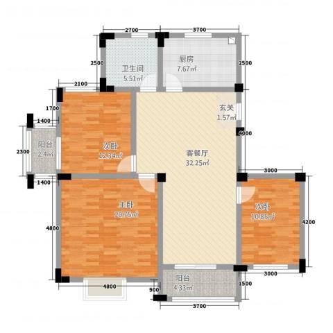 高尔夫家园3室1厅1卫1厨96.10㎡户型图