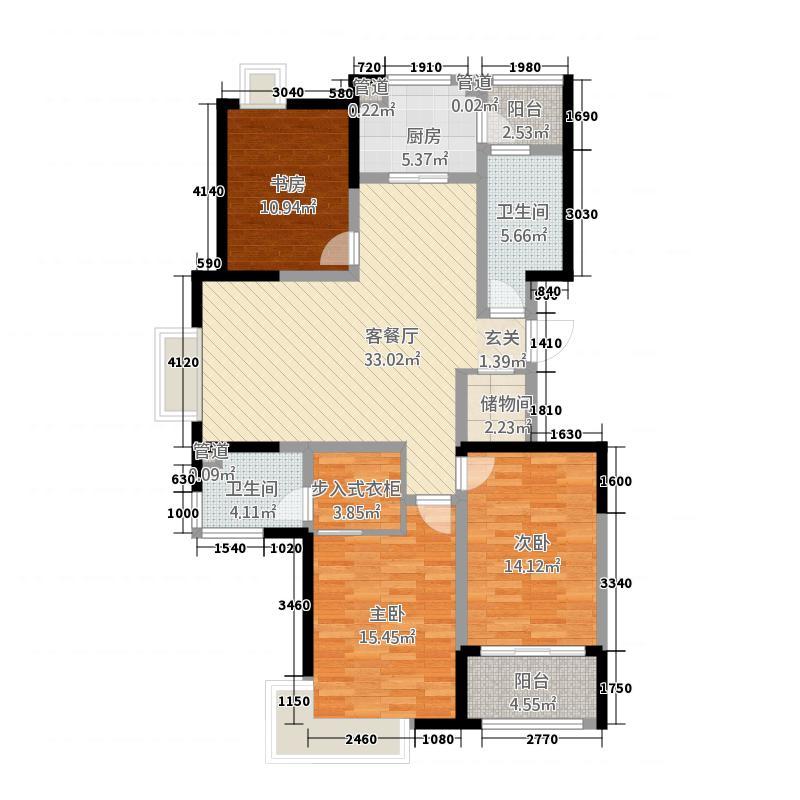 兴业・银河华府148.00㎡A5B-D148户型3室2厅2卫1厨