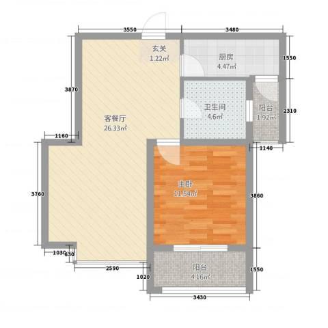 嘉城尚座1室1厅1卫1厨76.00㎡户型图