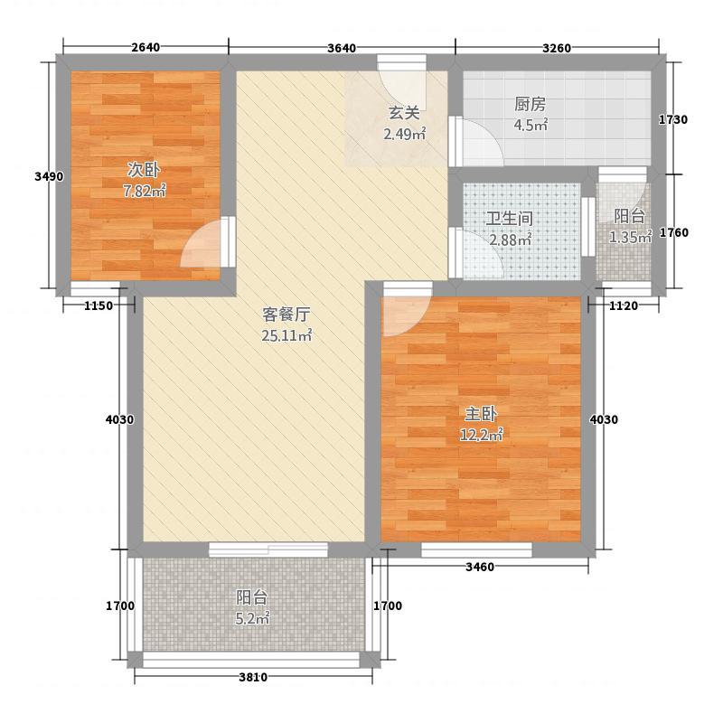 昌隆贵和苑86.40㎡B户型2室2厅1卫